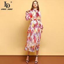 LD LINDA DELLA Fashion Summer Vintage Dress Women's Long Sleeve Bow Tie Draped Floral Printed Mesh Overlay Elegant Midi Dresses цена и фото
