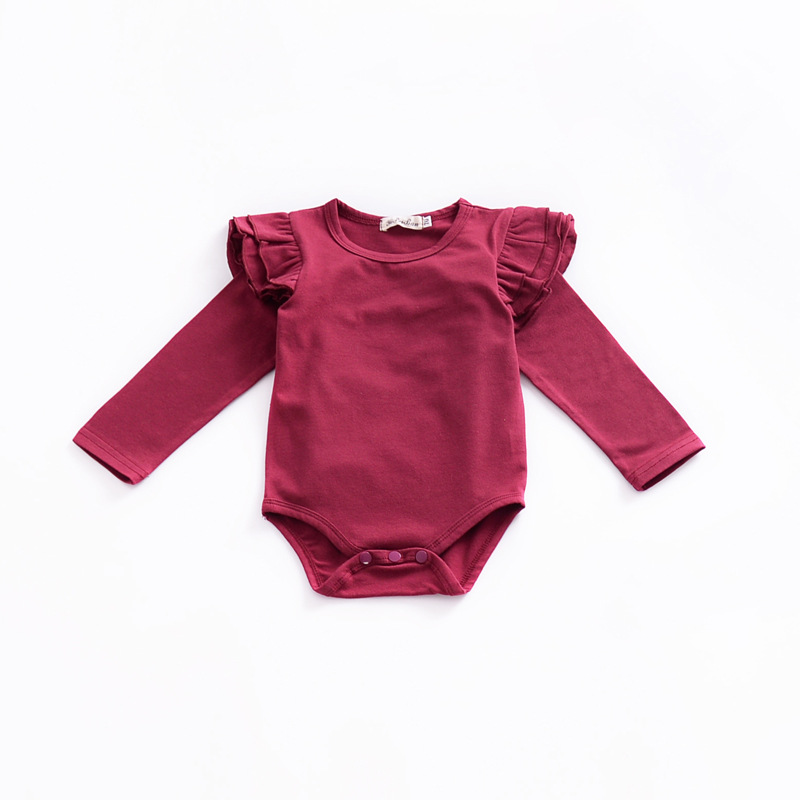 2018 Fashion Newborn Solid Color Red Baby Onesie Baby Bodysuit Toddler Bodysuit Baby Long Sleeve Newborn Onesie With Little Wing