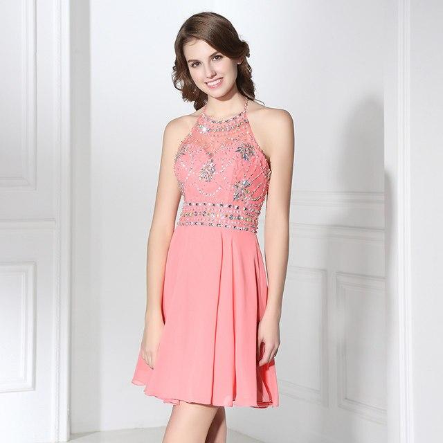 Tienda Online Sexy Halter una línea Vestidos de fiesta corto gasa ...