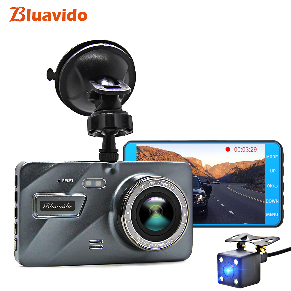 "Bluavido 4"" IPS Car Dash cam Night Vision ADAS Full HD 1080P Car Video Camera IMX323 sensor Dual Lens Car Recorder DVR 170 Angle-in DVR/Dash Camera from Automobiles & Motorcycles    1"