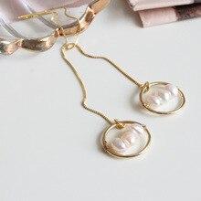 Fashion 925 sterling silver ear line long earrings for women brincos cute freshwater pearl earings earline