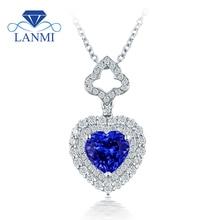 Lovely Heart Tanzanite Pendant Necklace Shinning Diamond Real 18K White Gold Good Gem for Wife Birthday