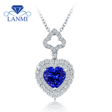 Lovely Heart Tanzanite Pendant Necklace Shinning Diamond Real 18K White Gold Good Gem for Wife Birthday Fine Jewelry Gift