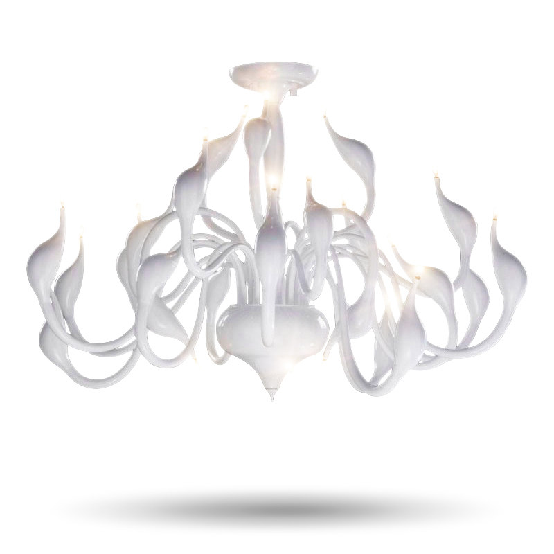 12/18/24 Heads Art Deco European Candle Metal LED Swan Chandeliers Ceiling Bedroom Living Room Modern Decoration G4 Lighting