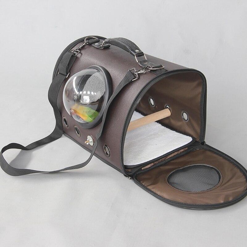 Extérieur en cuir oiseau épaule sacs Portable perroquet porter Cage avec bâtons et tasses Pet respirant espace Capsule sac à main CW082 - 3