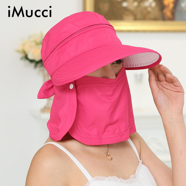 a91de8f6e60 iMucci UV Protection Face Neck Flap Man Sun Cap Summer Style Foldable Cover  the face Floppy Beach Hats Visors Cap
