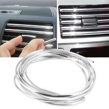 Новейший 4 м u-образный DIY Автомобильный Стайлинг интерьер вентиляционное отверстие переключатель на решетке обода отделка на выходе Декоративная полоса литье хром серебро Горячая Распродажа