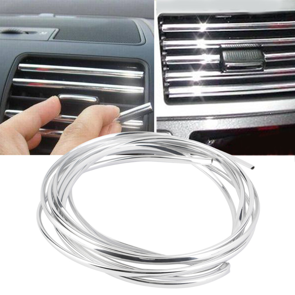 Newest 4m U Shape DIY Car-styling Interior Air Vent Grille Switch Rim Trim Outlet Decoration Strip Moulding Chrome Silver Hot