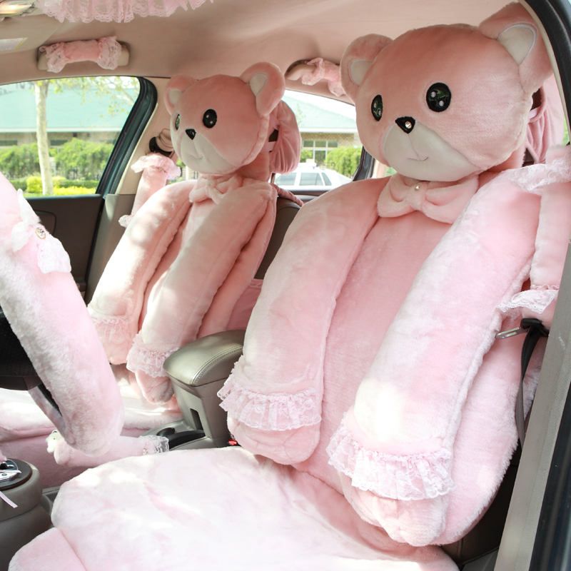 Mei-Mei-Bear-Universal-Automobile-Car-Seat-Cover-Milk-Velvet-Cushion-9pcs-pink