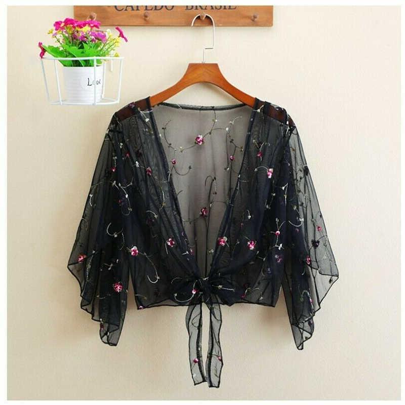 Damskie topy i bluzki letnia kwiecista bluzka koszula kardigan cienkie ubrania bluzka z wycięciami Cover Up Blusas Femininas Elegante