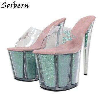 Sorbern Multi Colors Glitter Slippers Women Transparent PVC Slip On Summer Shoes 8 Inch Extreme High Heel Outdoor Slide Open Toe