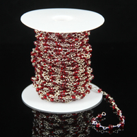 Fashion Rosary Beading Supplies Tiny Red Glass Crystal Faceted Rondelle Beads Craft Bracelet Plated Silver Wire