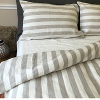 Custom made Pair French chic Pre washed 100% Blue and white / Oatmeal and white Striped Linen Pillow Case Cover Shams