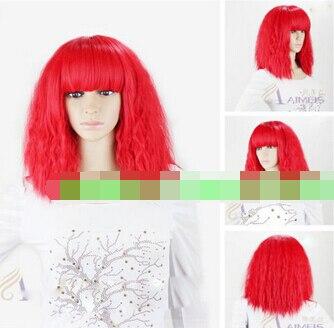 bjc 001800 Cosplay LADY GAGA Short Red Fireworks Very Hot Heat Resitant Wig