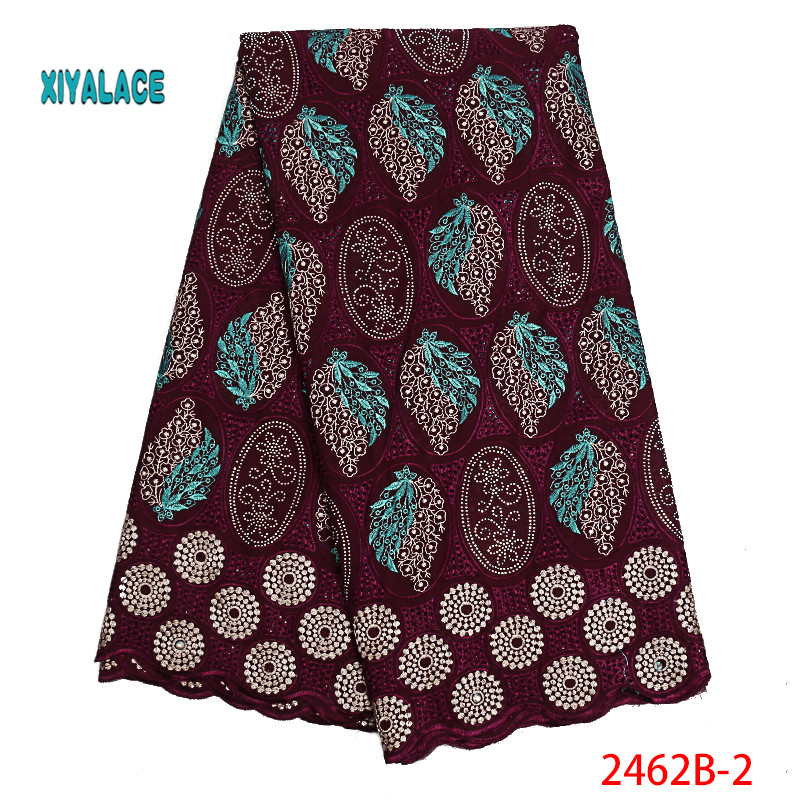 Nigerian Lace Fabrics 2019 African Swiss Voile Lace High Quality French Swiss Voile Lace In Switzerland For Wedding YA2462B-2