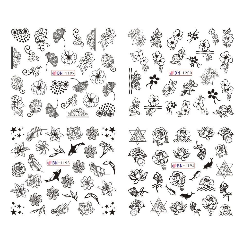 Image 5 - 12pcs Black Floral Butterfly Water Nail Stickers Hollow Design Nail Art Decal Water Transfer Slider Decor Manicure JIBN1189 1200-in Stickers & Decals from Beauty & Health
