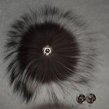 Grande Genuino Real Silver Fox Fur Pompón Pompones De Piel Accesorios Del Pelo Pelota Pompón de Piel Para Los Zapatos Sombreros Bolsas