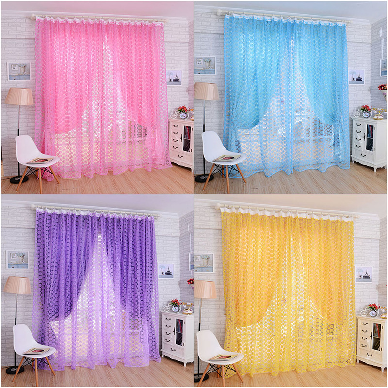 Curtains Rose Drape-Panel Valances-Shop Window-Display Balcony Living-Room Screens-Door title=