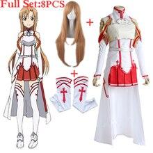 b31a5a136b Anime Spada Arte Online Asuna Yuuki Vestito Costumi Cosplay Uniforme per  Halloween SAO Asuna Battle Suit Outfit Set Completo con.