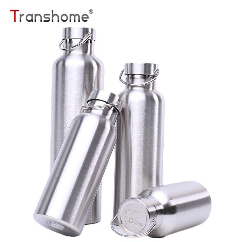Transhome נירוסטה קיר כפול Drinkware למשלוח חיצוני ספורט טיפוס קמפינג בקבוק מים בקבוק ריק בידוד חם קר