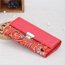 Manual Embroidery 100% Real Silk and Genuine Leather with Shell Ornament Unique Women Wallets Free Shipping YJSN101-1