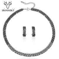 Viennois Vintage Jewelry Sets For Women Retro Silver Color Choker Necklaces Rhinestone Stud Earrings Wedding Bridal