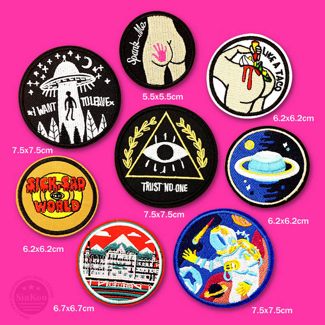 Astronaut UFO SICK SAD WORLD Cloth Badge Mend Decorate Patch Jeans Jackets Bag Shoes Clothes Apparel Sewing Decoration Applique