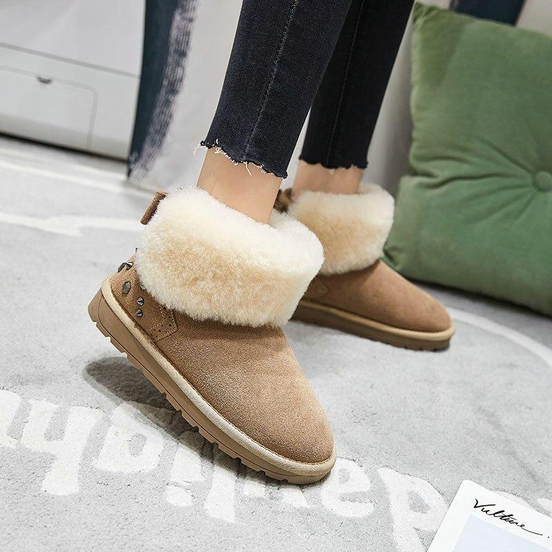 783401e37fdff gris Femmes Chaussures Beige noeud Coton 2018 Chaudes Plat Papillon  Cheville Bottes En noir De Suède Peau Neige ...