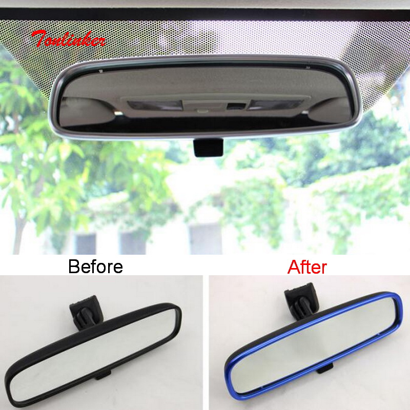 Tonlinker Interior Rearview mirror Cover case sticker for Mitsubishi - Car Interior Accessories
