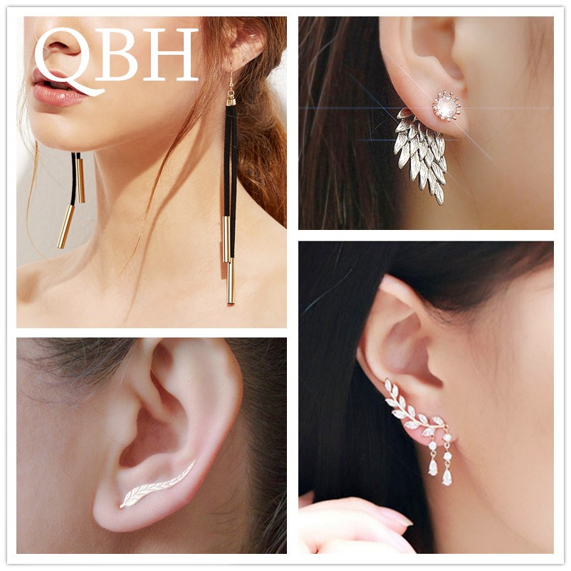 New Fashion Brincos Imitation Pearl Heart Crystal Flower Bow Leaf Angel Wings Geometry Stud Earrings for Women Jewelry Bijoux