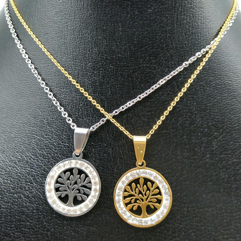 New Hot Brand Jewelry Charm life tree Pendant necklace jewelry gold silver plated 316L stainless steel women jewelry