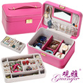 Guanya Birthday Gift 2 Layer Big Capacity Jewelry Box Exquisite leather Accessories Ornaments Display Organizer Storage case