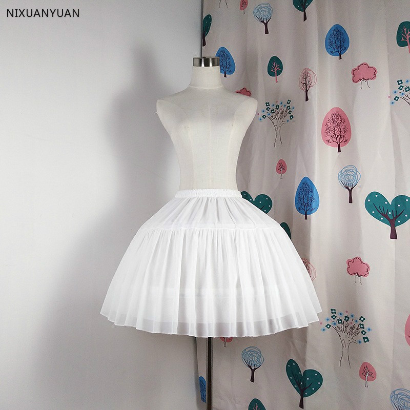 Women Girls Multi Layer Cosplay Lolita Underskirt Elastic Waistband Single Steel Loop Bridal Wedding Dress Petticoat White