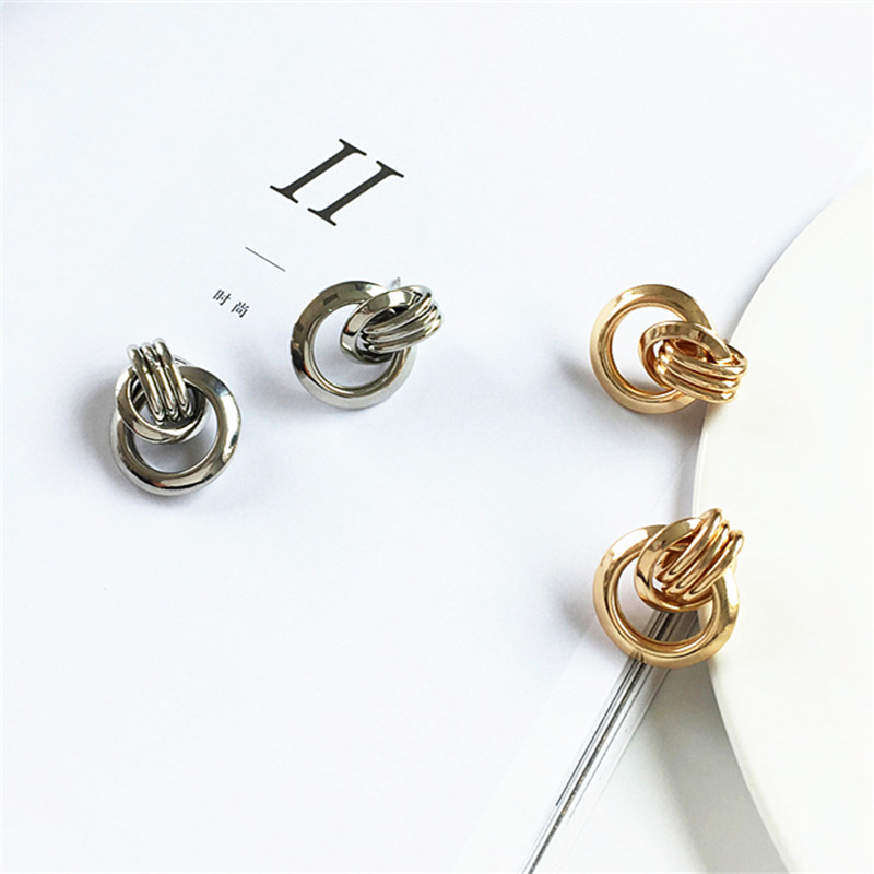 Fresh female knot geometrical irregular earrings pure metal exaggerated personality contracted fashion