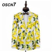 OSCN7 желтые цветы высокого класса вечерние печати 2 шт. Индивидуальные костюмы Для мужчин брендовая одежда свадебное платье костюмы Для мужч