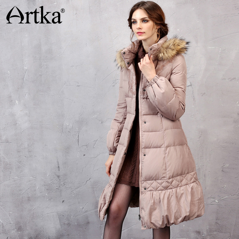 ARTKA Winter   Down     Coat   Women Embroidery Parka With Raccoon Fur Hooded Overcoat Women Duck   Down   Jacket Thick Windbreaker YK10153D