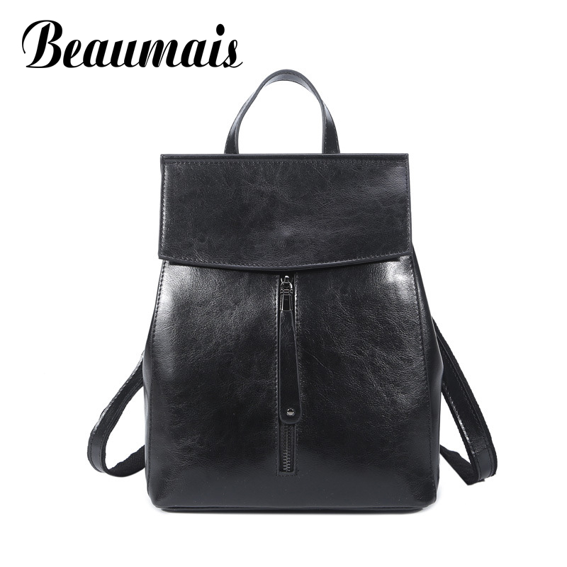 Beaumais 2017 New Design Genuine Leather Women Backpacks School Bags For Teenager Girls Leather Backpacks Shoulder
