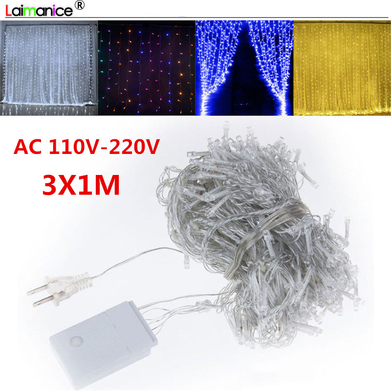 LED Icicle Net Light String 3x1m Christmas Wedding Party Fairy Tale Lights Garland Indoor Outdoor Curtain Garden Decoration