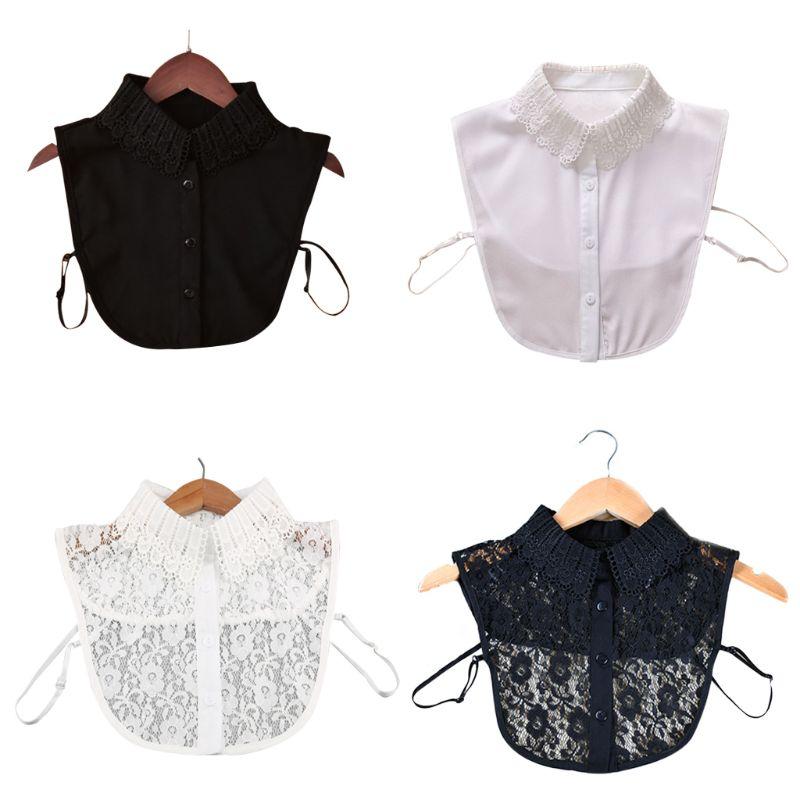 Shirt Lace False Collar Women White & Black Blouse Vintage Detachable Adjust Clothes Accessories