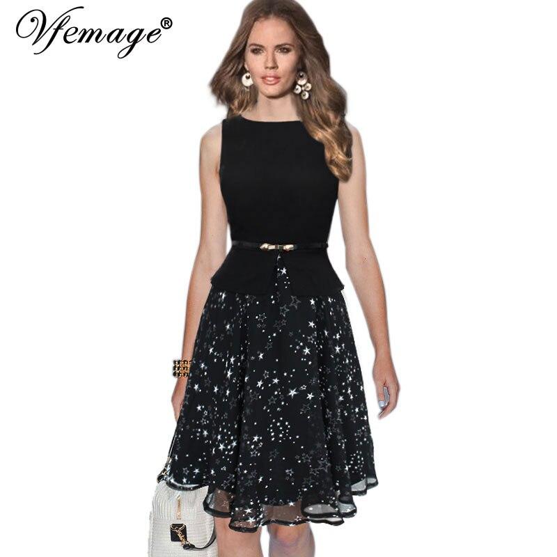 Vfemage женщин летом старинные элегантный поясом polka dot шифон лоскутная туника работа офис партии fit и flare-line платье 608