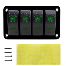 Green LED 4 Gang Boat Car Switches Panel Aluminum Dash 5 Pin ON/OFF Toggle Circuit Breaker for Boat Car Marine  RV Caravan