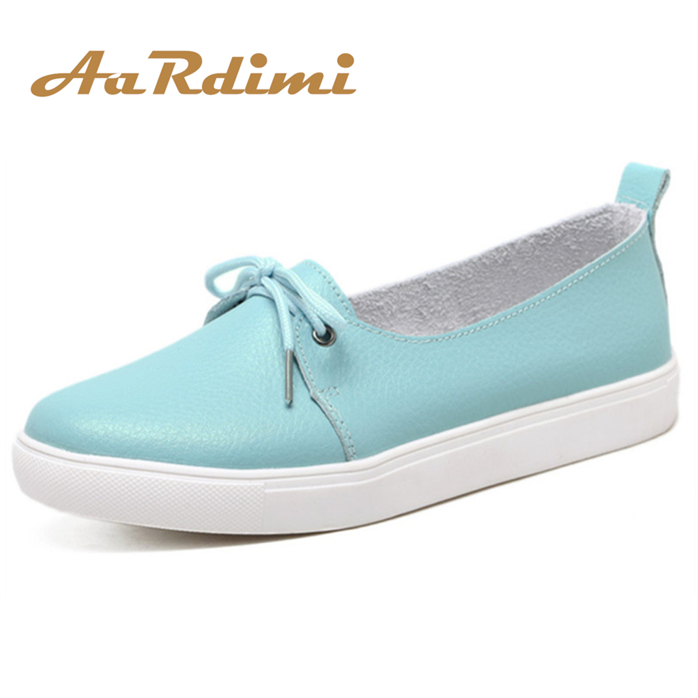 AARDIMI Spring Lovely Women Shoes Genuine Leather Women Flats Shoes Moccasins Single Solid Ballet Causal Shoes Woman Loafers aardimi 100% cow leather oxford shoes for woman spring