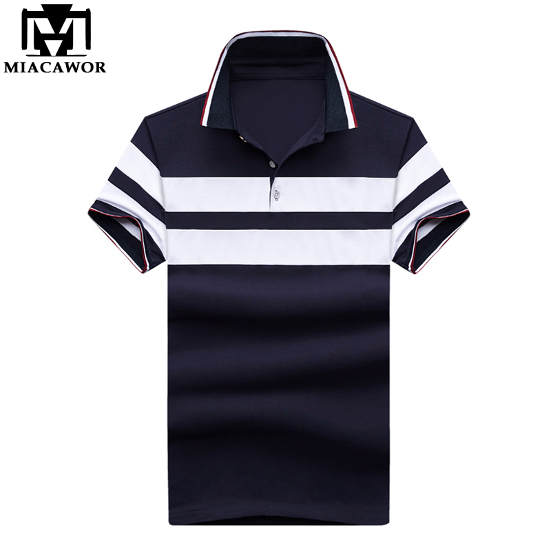MIACAWOR New Men Cotton Fashion Patchwork Short-sleeve Baseball   Polo   shirts Slim Fit Casual Camisas MT639