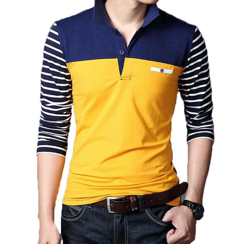 Hombres de manga larga Camiseta hombres primavera otoño vuelta sembrado  collar Camisas moda casual rayas patchwork 2a5f4dc1198