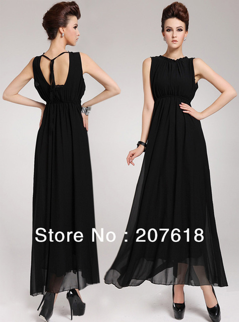Women Dresses Sexy Halter Chiffon Dress Black Party Evening Backless Long Dress Ball Gown Size S-XL