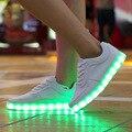 Новый 2016 8 Цвета СВЕТОДИОДНЫЕ Светящиеся Обувь Унисекс Led Обувь для Взрослых Мужчин Светящиеся Обувь USB Индикатор зарядки chaussure lumineuse
