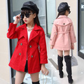 Girls New Children Spring and Autumn Kids Long Trench Clothing Cotton Red Pink Khaki