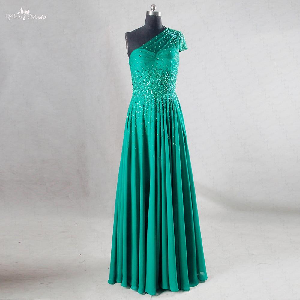 RSE730 One Shoulder Chiffon Bling Bling Emerald Green Prom Dress ...