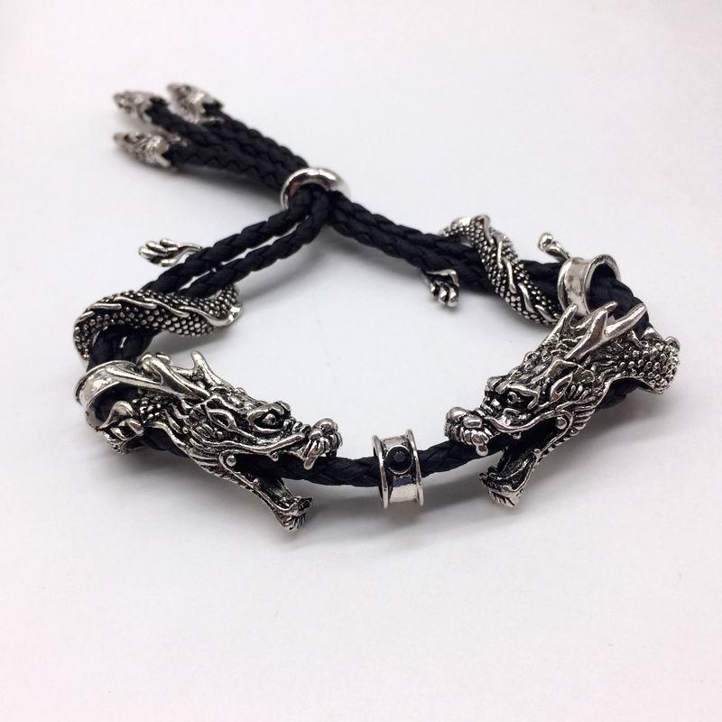 Мужской винтажный браслет с двойным драконом вечерние браслеты