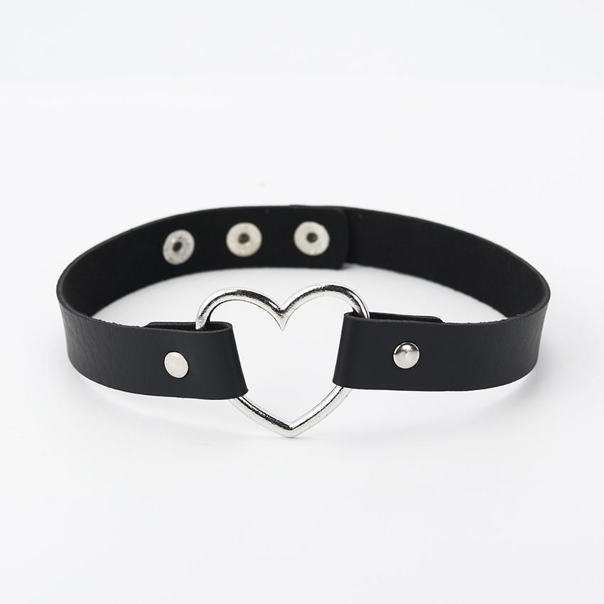 Горячее предложение, колье из искусственной кожи в стиле панк с сердечками и заклепками, ожерелье-ошейник с пряжкой, подарок для женщин, ювелирные изделия - Окраска металла: black